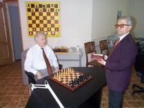 Vassily Smyslov at the board before the Rebel match.